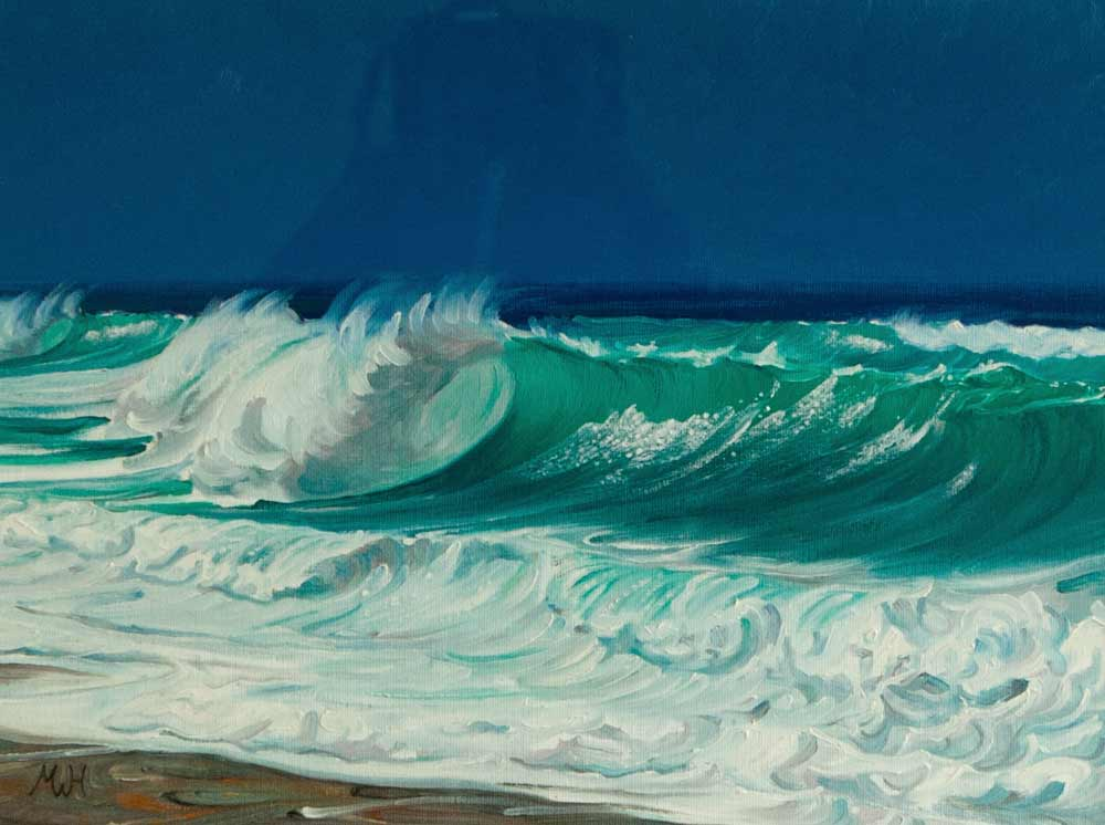 Painting of vivid green surging wave on inky blue sea.
