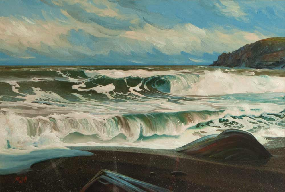 Seascape painting of frothy white waves on secluded beach.