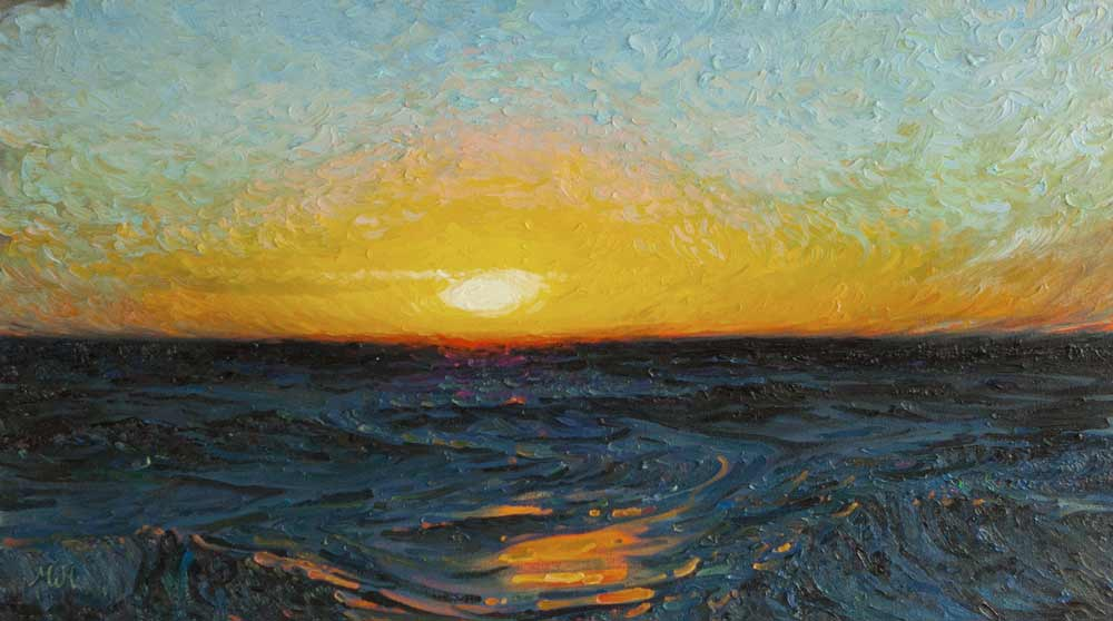 Oil on canvas of colourful sunset over deep blue sea.