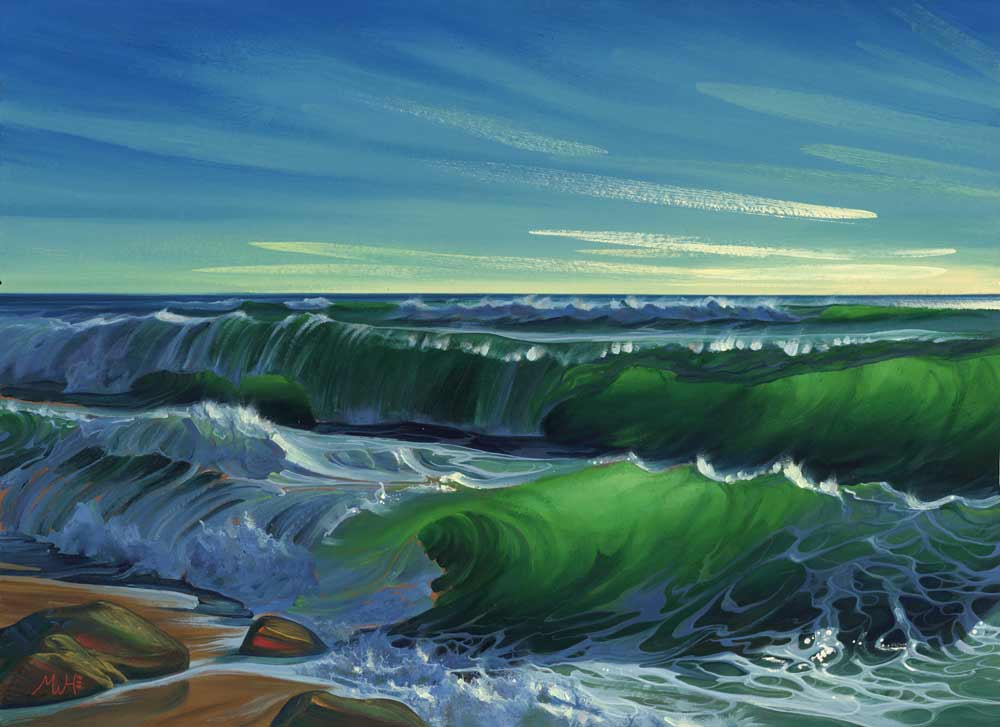 Gouache original of vivid green waves on remote beach.
