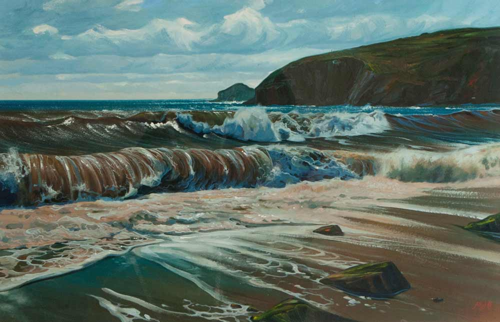 Gouache artwork of muddy brown waves at Praa Sands.