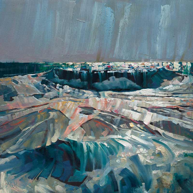 Abstract painting in oil of crashing waves at Porthleven.