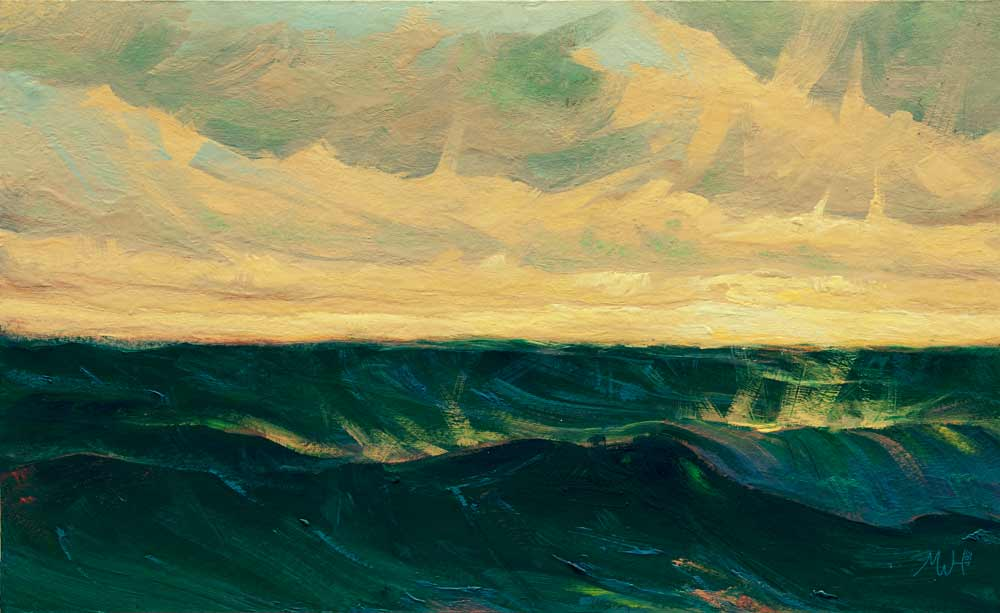 Painting of choppy sunset seas