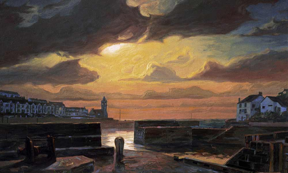 Oil on canvas of Porthleven under moonlight.