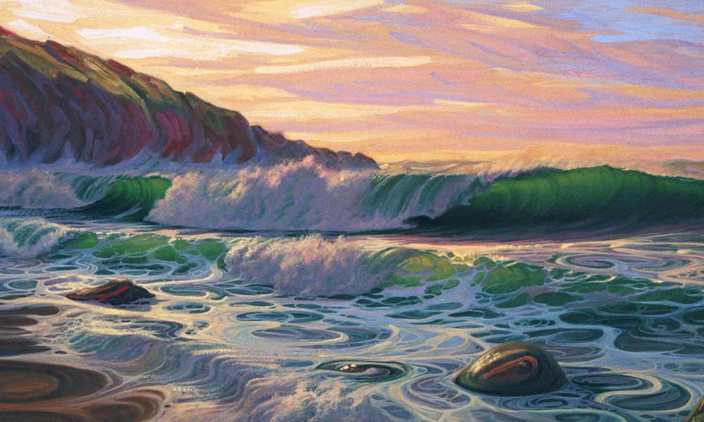 Seascape painting at sunset in rich colours.
