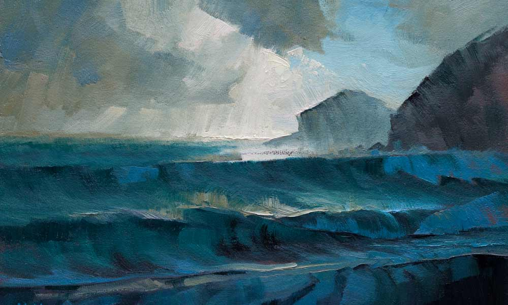 Expressive landscape in oils of stormy sea at Praa Sands.
